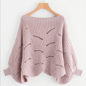 Sweaters - ❤️ Just In Pink Eyelet Dolman Scalloped Sweater